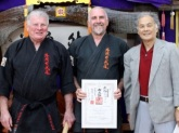 Sensei Mark is awarded his 3rd Dan in Kobudo, March 2015.