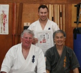 Sensei Mark Shelmerdine is awarded his 3rd Dan in Kobudo by Sensei Hokama and Shihan Lipman, September 2012