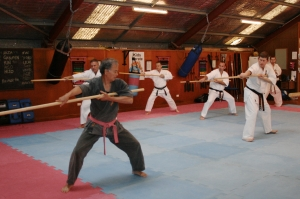 Sensei Hokama leading instruction on the Bo staff.