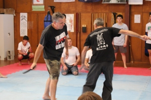 Sensei Robert and Sempai Aaron demonstrate a combination.