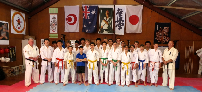 Shihan Howard Lipman & Shihan Rick Cunningham with Knox alumni Sempai Alex Lloyd & Theo Schreuder and the current Knox senior school Karate students.