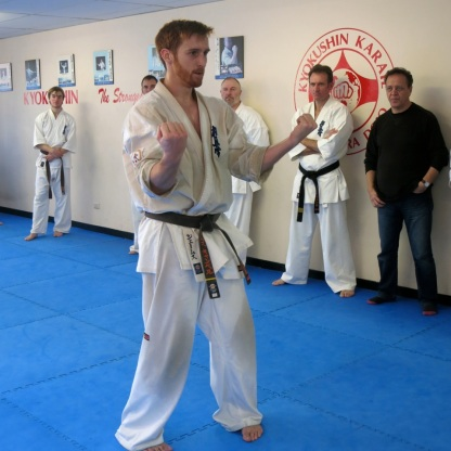 Sempai James performs Sanchin kata