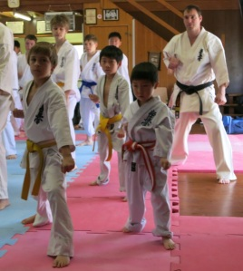 Josh (left) at the Kyokushin Seminar, October 2013