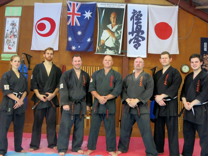 December 2014: Sempai Jessica Den (1st Dan Kyokushin, 1st Dan Kobudo), Sempai James Campbell (2nd Dan Kyokushin, 1st Dan Kobudo), Sempai Mark Shelmerdine (4th Dan Kyokushin, 3rd Dan Kobudo), Shihan Rick Cunningham (6th Dan Kyokushin, 5th Dan Kobudo), Sensei Paul Finnerty (4th Dan Kyokushin, 2nd Dan Kobudo), Sensei Ian Holdaway (3rd Dan Kyokushin, 1st Kyu Kobudo) & Sempai Alex Lloyd (2nd Dan Kyokushin, 1st Kyu Kobudo)