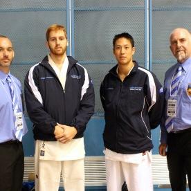 Sensei Jon and Sensei Mark with their fighters, James and Don.