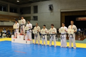 Sempai James Campbell (far right) in the Okinawa Karate Tournament 2015.