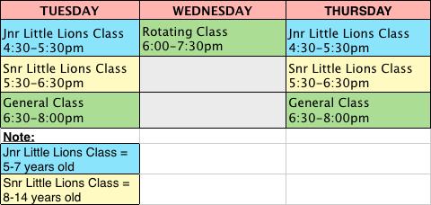 Aspley Dojo Schedule