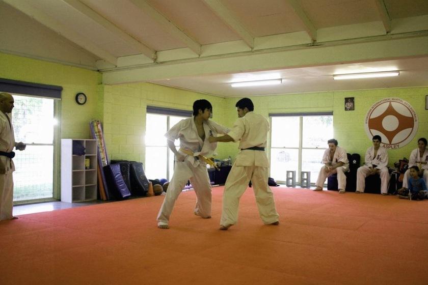 Jermaine performing kumite.