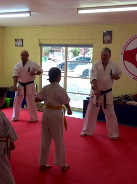 Sempai Rob and Shihan Lipman lead the class.