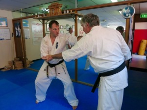 Sensei James Sidwell & Sensei Mark McFadden in the February Black Belt class.