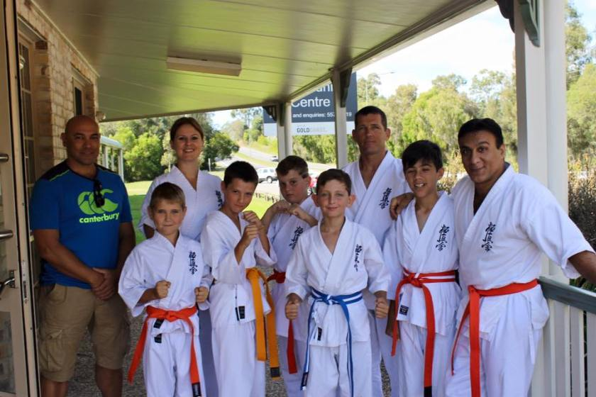 Sempai Rob James and the competitors from Aspley Dojo.