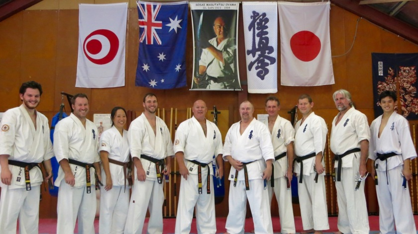 The Kobudo class: Sempai Alex, Sensei Mark, Patricia, Sensei James, Shihan Cunningham, Sensei Paul, Sensei Peter, Sensei Ian, Sensei Mark and Sensei Ben.