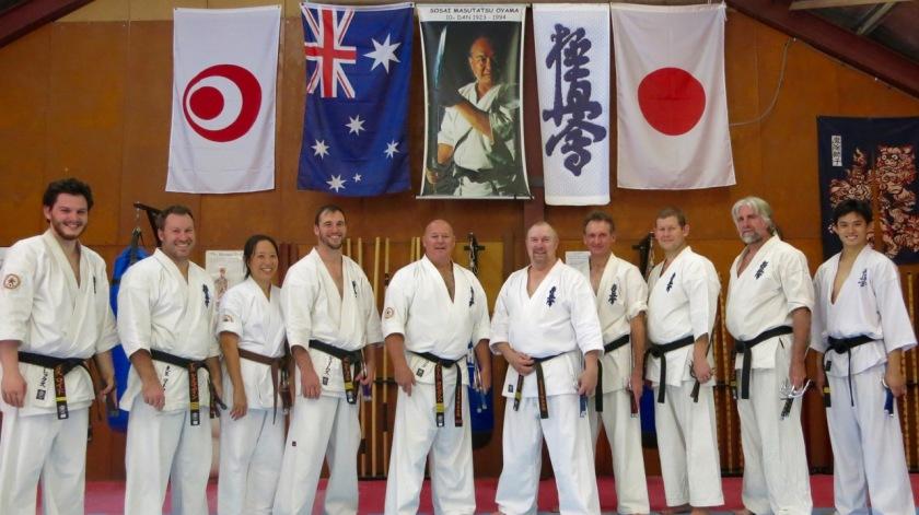 The Kobudo class: Sempai Alex, Sensei Mark, Patricia, Sensei James, Shihan Cunningham, Sensei Paul, Sensei Peter, Sensei Ian, Sensei Mark and Sensei Ben.