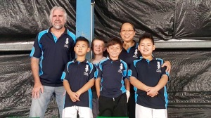 Sensei Mark McFadden and Patricia Tan with the Little Lions.