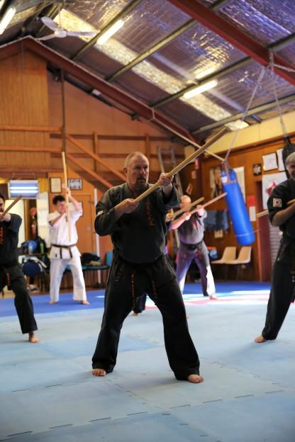 Sensei Paul Finnerty with the Bo.