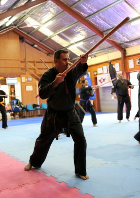 Sensei Mark Shelmerdine with the Bo.