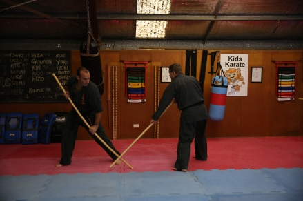 Partner work: Sensei Jon blocks Sensei Mark.