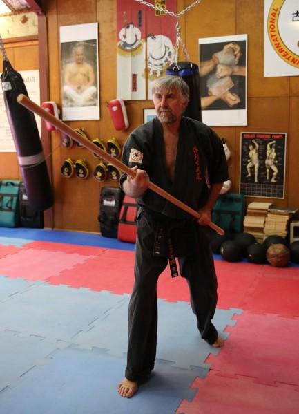 Sensei Mark McFadden with the Bo.