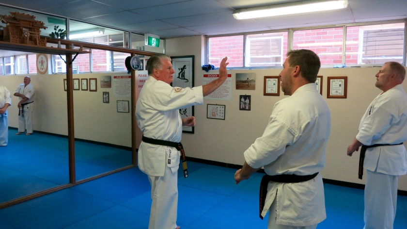 Shihan Howard Lipman corrects technique for Tensho kata.