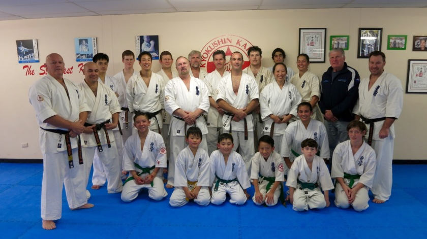 Group photo of those who attempted the grading and supporting black belts.
