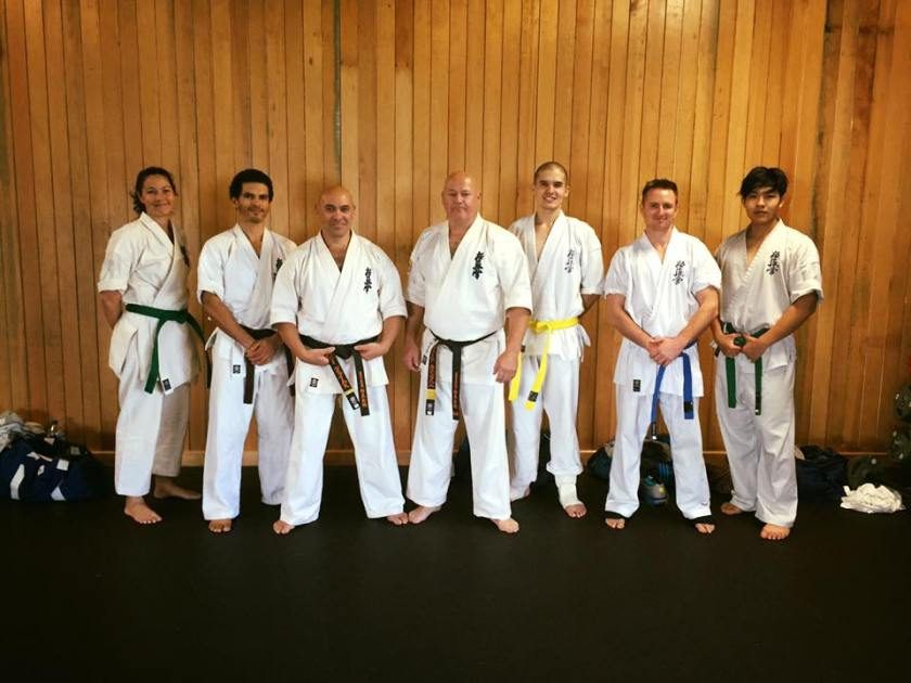 Shihan Rick Cunningham with Sempai Rob James and his adult students.