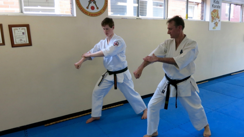 Sensei Peter Olive runs Sempai Jason Lambe through Kanku Dai.