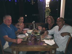 Shihan Lipman, Masumi, Han and his partner at dinner together.
