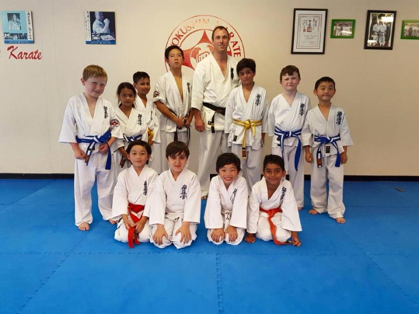 Sensei James Sidwell with the participants of the Kids Karate Grading, 7 December 2016.