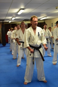 Shihan Peter and the class line up at the end of training.