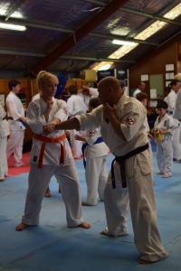 Sempai Rob (Queensland) & Lauren (Ballina Dojo) work together on new bunkai.