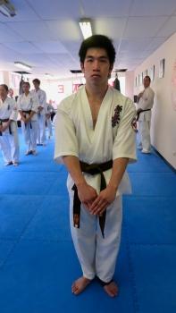 """Jonathan observing """"Mokuso"""" before a senior kata."""