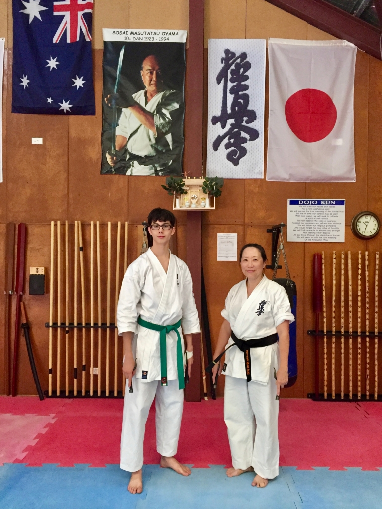 Wes and Sempai Trish after their Kobudo grading, 5 December 2016.