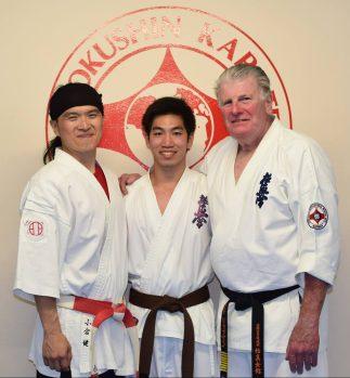 Jonathan Lee with Shihan Ken Ogura and Shihan Howard Lipman at the 2016 Shihan Ken Seminar.