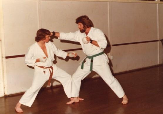 Early kumite training (Shihan Howard on the right)
