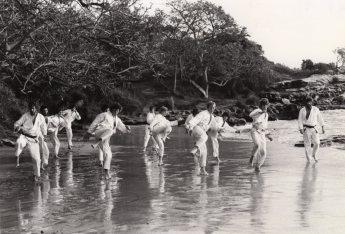 Shihan Howard (far right) teaching outdoors