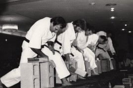 Shihan Howard (second from left) breaking in a tournament