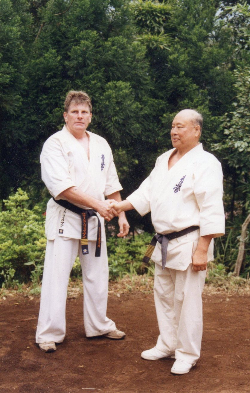 Sosai Mas Oyama grades Shihan Howard Lipman to 4th Dan in Kyokushin