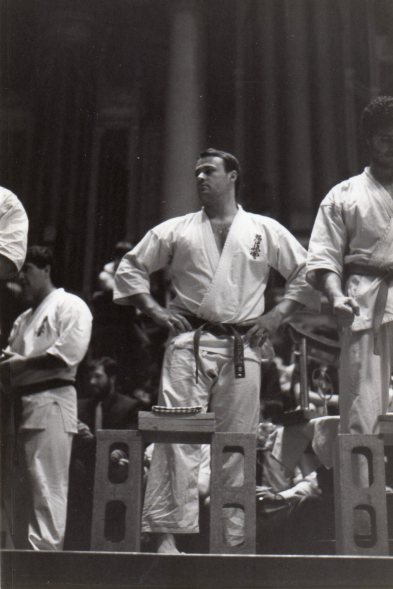 Shihan Rick about to perform tameshiwari in a tournament