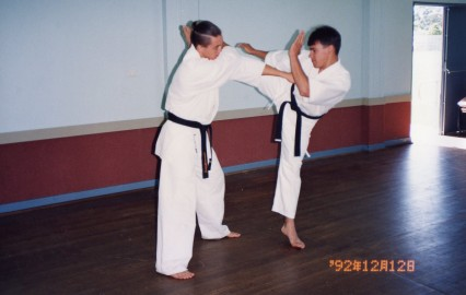 Sempai Rob James performs a roundhouse kick