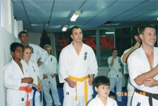 Sensei James Sidwell (centre) & Sensei Mark Shelmerdine (far right)