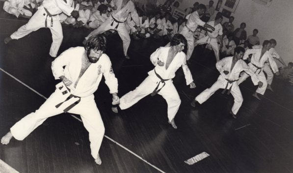 Shihan Howard Lipman (left) in training for Shodan