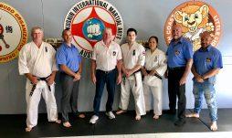 Seminar black belts: Sempai Wally Gray, Sensei Jon Ellis, Hanshi Howard Lipman, Sempai Alex Lloyd, Sempai Patricia Tan and Sensei Rob James.