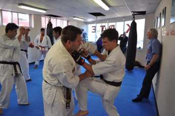 Sensei Mark Shelmerdine with an over the top punch during kumite with Eric Wright
